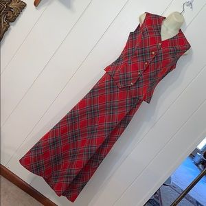 🎄Vtg 60s/70s red & green plaid polyester outfit